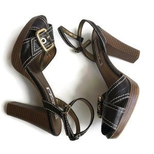 American Eagle By Payless Shoes - American Eagle Platform Heels Wood Buckle Sandals